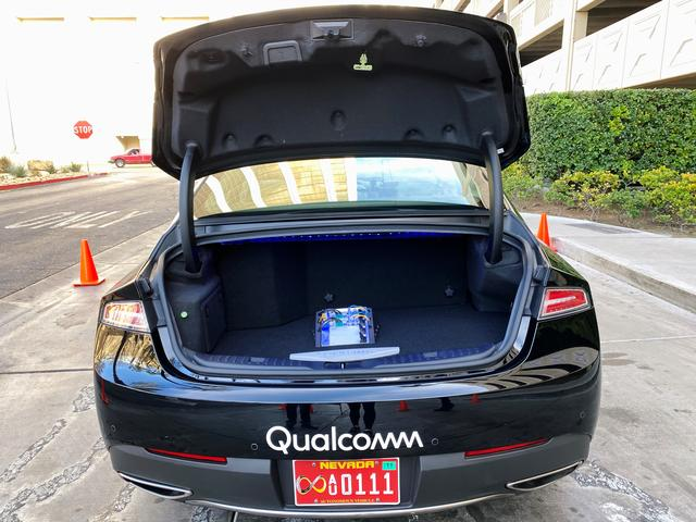 The new Snapdragon Ride autonomous driving computing system is seen in the trunk of a demo car at the Consumer Electronics Show (CES) in Las Vegas, U.S., January 5, 2020.  REUTERS/Jane Lanhee Lee