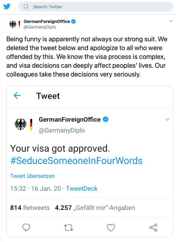 German foreign ministry backtracks after sense of humor failure