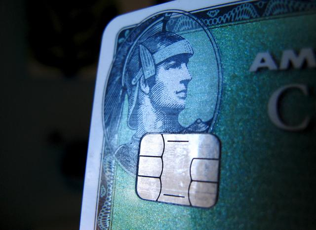 A computer chip is seen on a newly-issued credit card in this photo illustration taken in Encinitas, California September 28, 2015. REUTERS/Mike Blake
