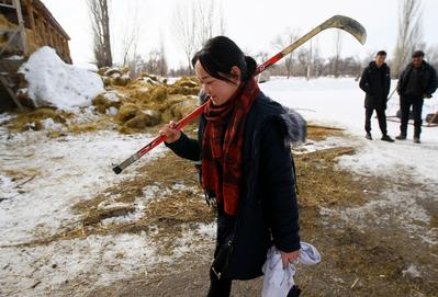 Kyrgyzstan's first female hockey team