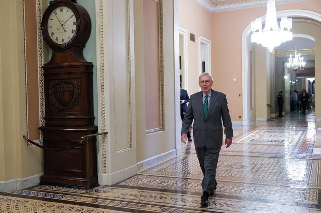 U.S. Senate Majority Leader Mitch McConnell (R-KY) walks to the floor for the final vote on the war powers resolution regarding potential military action against Iran, at the Capitol in Washington, U.S. February 13, 2020.  REUTERS/Jonathan Ernst