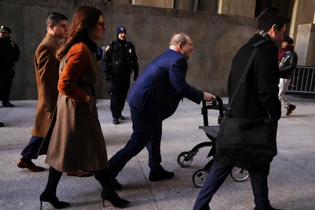 Film producer Harvey Weinstein arrives at New York Criminal Court during his ongoing sexual assault trial in the Manhattan borough of New York City, New York, U.S., February 14, 2020. REUTERS/Carlo Allegri