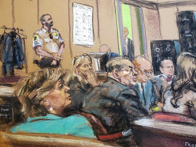 Attorney Gloria Allred sits in the front row of the gallery behind the defense during closing arguments at New York Criminal Court for Harvey Weinstein's sexual assault trial in the Manhattan borough of New York City, New York, U.S., February 14, 2020 in this courtroom sketch.  REUTERS/Jane Rosenberg