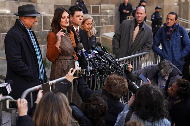 Film producer Harvey Weinstein's lawyer Donna Rotunno talks to the media outside New York Criminal Court during the ongoing sexual assault trial in the Manhattan borough of New York City, New York, U.S., February 14, 2020. REUTERS/Carlo Allegri