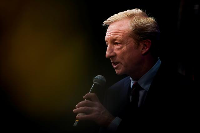 FILE PHOTO: Democratic 2020 U.S. presidential candidate Tom Steyer addresses the League of United Latin American Citizens (LULAC) Nevada Presidential Town Hall in Las Vegas, Nevada, U.S., February 13, 2020. REUTERS/Eric Thayer