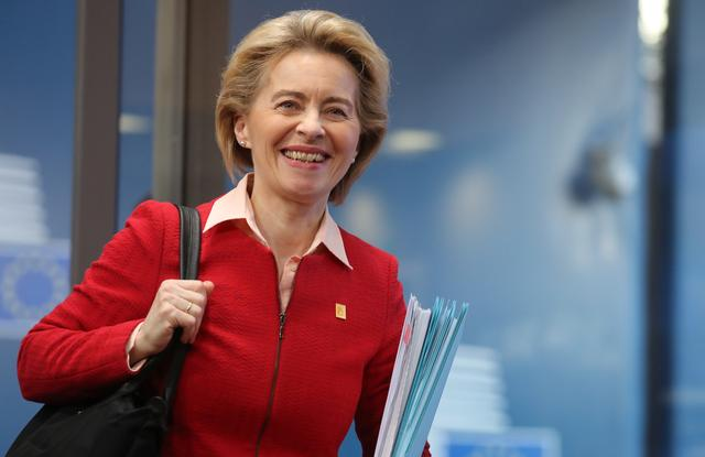 European Commission President Ursula von der Leyen arrives for the second day of a special European Council summit in Brussels, Belgium February 21, 2020, held to discuss the next long-term budget of the European Union. Ludovic Marin/Pool via REUTERS