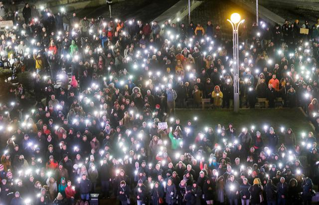 A general view of a protest rally marking the second anniversary of the murder of the investigative reporter Jan Kuciak and his fiancee Martina Kusnirova, one week ahead of country's parliamentary election in Bratislava, Slovakia, February 21, 2020. REUTERS/David W. Cerny