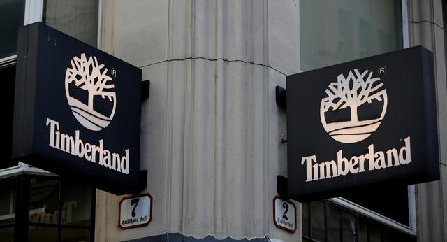 FILE PHOTO: Company logos are pictured outside a Timberland shop in Vienna, Austria, April 21, 2016.  REUTERS/Leonhard Foeger/File Photo