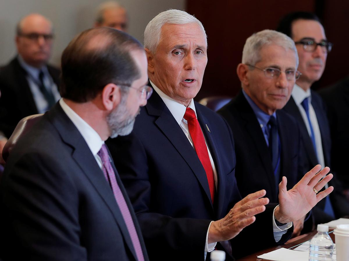 Pence says virus poses low-level threat in U.S., working with Congress on spending bill