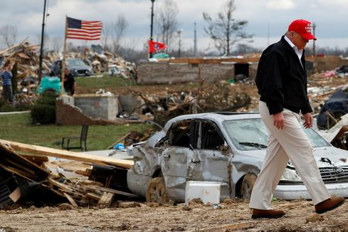 Trump visits tornado-hit Tennessee