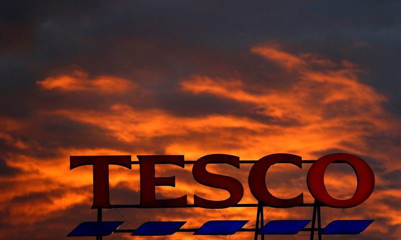 A company logo is pictured outside a Tesco  supermarket in Altrincham northern England, April 16, 2016. Phil Noble