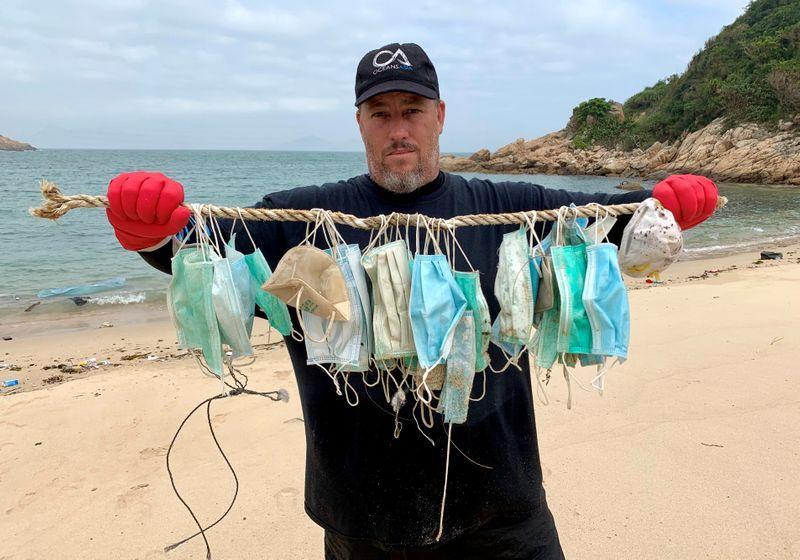 Discarded coronavirus masks clutter Hong Kong's beaches, trails ...