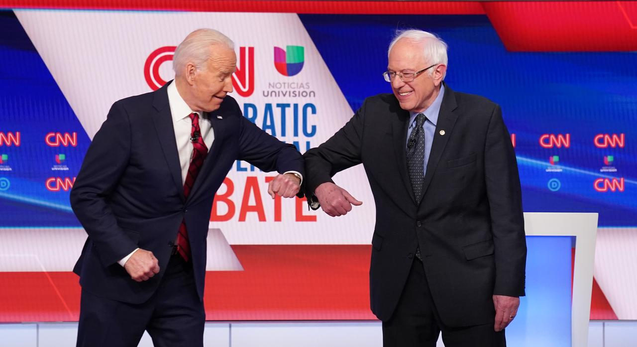 Image result for biden sanders elbow bump