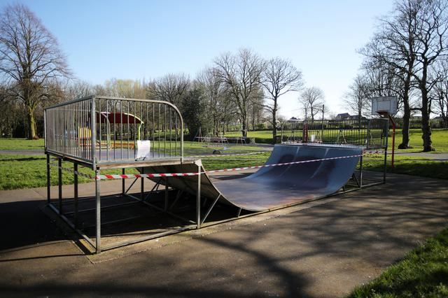 A children's playground is closed off in Verdin Park, as the spread of the coronavirus disease (COVID-19) continues, Northwich, Britain, March 26, 2020. REUTERS/Molly Darlington
