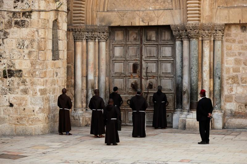 Praying outside Church of the Holy Sepulchre, but unable to enter
