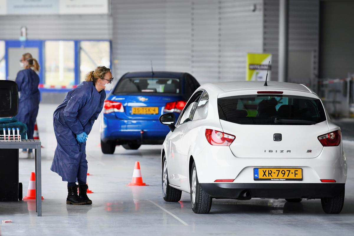 Dutch use ice rink for drive-in coronavirus testing
