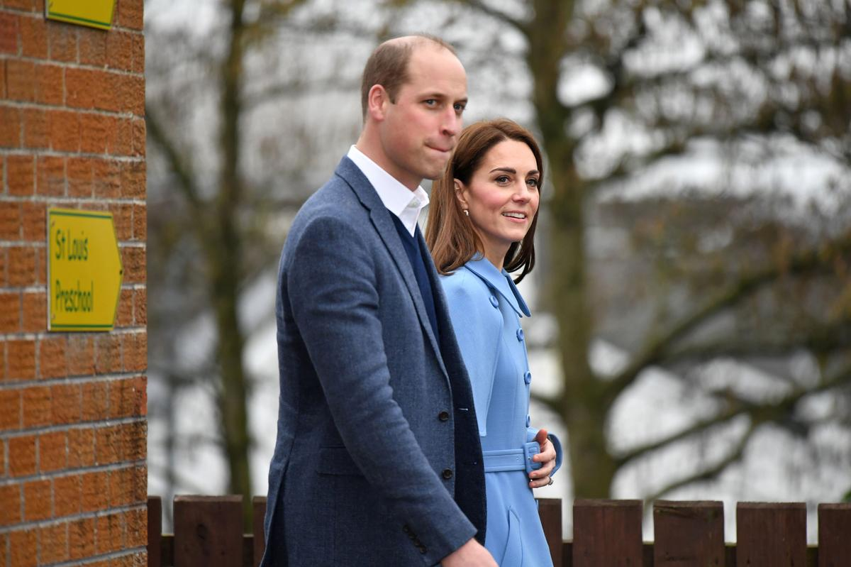 Britain's William and wife Kate surprise school children with video call