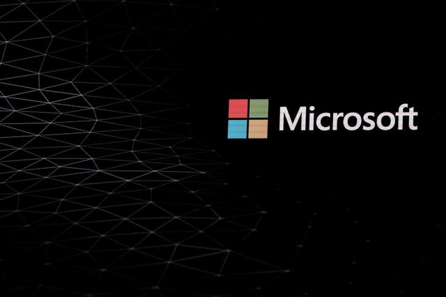 FILE PHOTO: The Microsoft logo is pictured ahead of the Mobile World Congress in Barcelona, Spain February 24, 2019. REUTERS/Sergio Perez