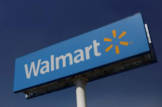 FILE PHOTO: A Walmart sign is pictured at one of their stores in Mexico City, Mexico March 28, 2019. Picture taken March 28, 2019. REUTERS/Edgard Garrido/File Photo