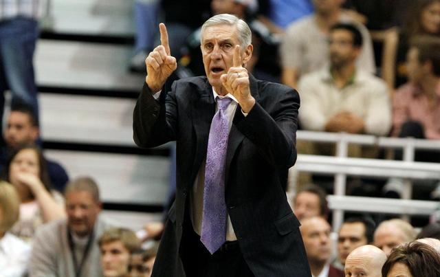 FILE PHOTO: Utah Jazz head coach Jerry Sloan directs his team against the Miami Heat during the first half of their NBA basketball game in Salt Lake City, Utah December 8, 2010. REUTERS/Jim Urquhart/File Photo