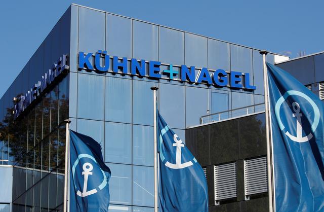 FILE PHOTO: The logo of Swiss logistics group Kuehne + Nagel is seen at its headquarters in Schindellegi, Switzerland October 17, 2018. REUTERS/Arnd Wiegmann