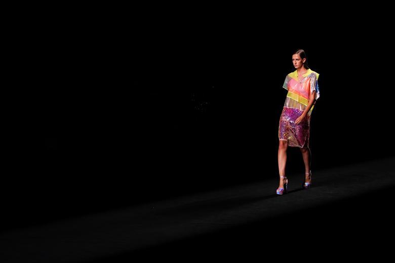 A model presents a creation by Custo Barcelona. REUTERS/Juan Medina