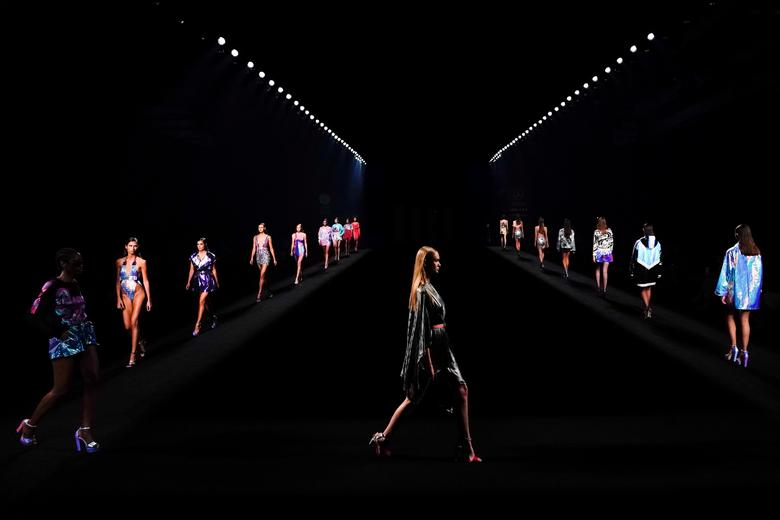 Models present creations by Custo Barcelona during the Mercedes Benz Fashion Week in Madrid, Spain.    REUTERS/Juan Medina