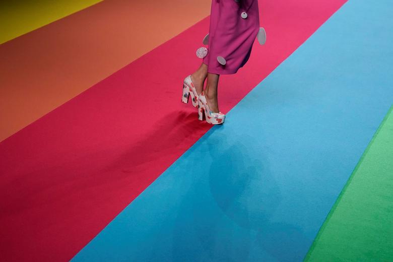 A model presents a creation by Spanish designer Agatha Ruiz de la Prada. REUTERS/Juan Medina