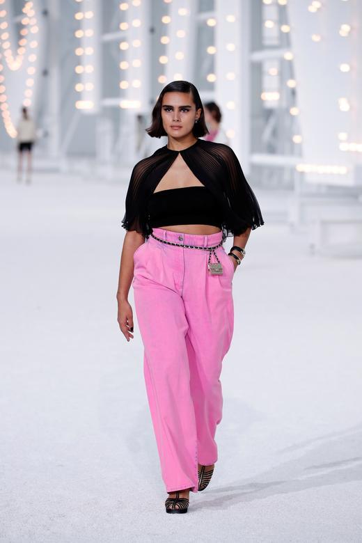 Model Jill Kortleve presents a creation by Virginie Viard for Chanel. REUTERS/Benoit Tessier