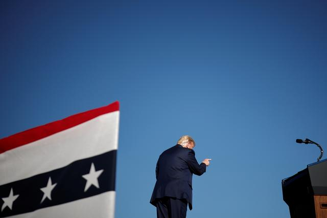 U.S. President Donald Trump points his finger during a campaign rally in Carson City, Nevada, U.S., October 18, 2020. REUTERS/Carlos Barria