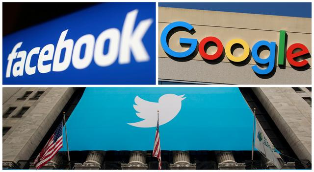 FILE PHOTO: Facebook, Google and Twitter logos are seen in this combination photo from Reuters files. REUTERS