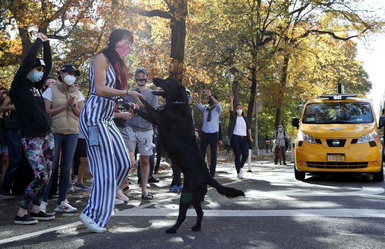 People at Central Park react as media announce that Joe Biden has won the election in Manhattan, November 7. REUTERS/Caitlin Ochs