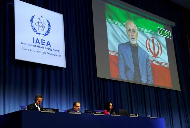 FILE PHOTO: International Atomic Energy Agency (IAEA) Director General Rafael Grossi listens as head of Iran's Atomic Energy Organization Ali-Akbar Salehi delivers his speech at the opening of the IAEA General Conference at their headquarters in Vienna, Austria September 21, 2020. REUTERS/Leonhard Foeger/File Photo