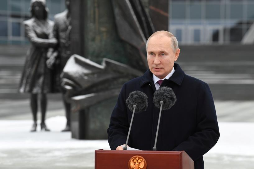 Russian President Vladimir Putin delivers a speech during a ceremony marking the Security Agencies Worker's Day at the headquarters of the Foreign Intelligence Service in Moscow, Russia December 20, 2020. Sputnik/Alexei Nikolsky/Kremlin via REUTERS ATTENTION EDITORS - THIS IMAGE WAS PROVIDED BY A THIRD PARTY.