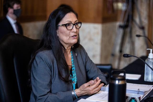 Rep. Deb Haaland, D-NM, speaks during a Senate Committee on Energy and Natural Resources hearing on her nomination to be Interior Secretary on Capitol Hill in Washington, DC, U.S. February 23, 2021.    Graeme Jennings/Pool via REUTERS