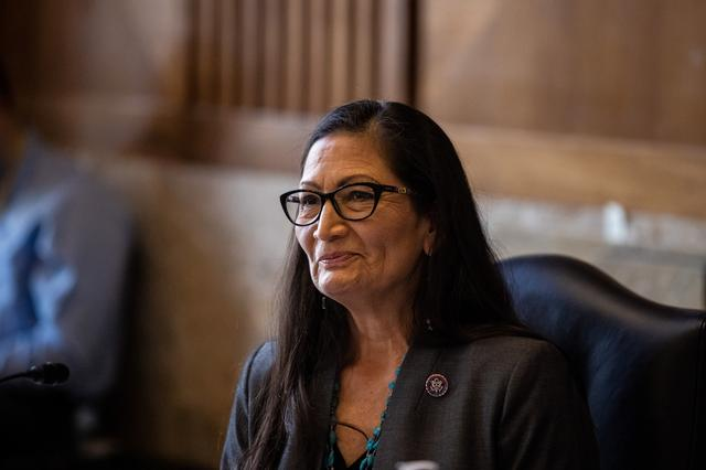 Rep. Deb Haaland, D-NM, looks on during a Senate Committee on Energy and Natural Resources hearing on her nomination to be Interior Secretary on Capitol Hill in Washington, DC, U.S. February 23, 2021.    Graeme Jennings/Pool via REUTERS