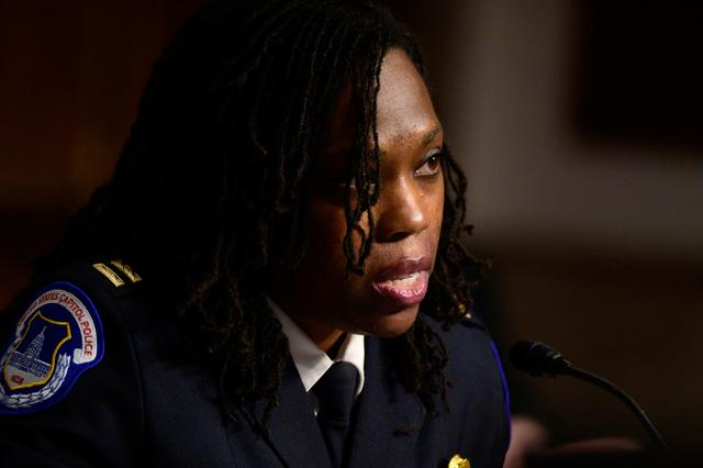 Captain Carneysha Mendoza, U.S. Capitol Police testifies in a Senate Homeland Security and Governmental Affairs and Senate Rules and Administration committee joint hearing on Capitol Hill, Washington, U.S. February 23, 2021, to examine the January 6th attack on the Capitol.    Erin Scott/Pool via REUTERS