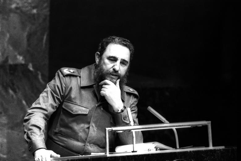 Fidel Castro spricht als Präsident der Bewegung der Blockfreien Staaten vor den Vereinten Nationen in New York, Oktober 1979. | Bildquelle: REUTERS | Bilder sind in der Regel urheberrechtlich geschützt