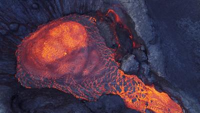 Iceland's erupting volcano seen from above