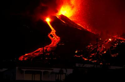 Lava pours out of volcano on La Palma in Spain's Canary Islands