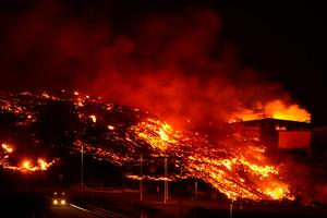 Rivers of red hot lava flow from Spain's La Palma volcano