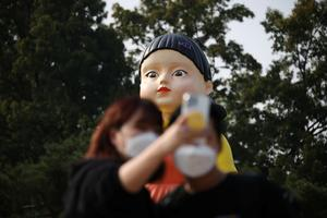 Giant 'Squid Game' doll appears in Seoul park